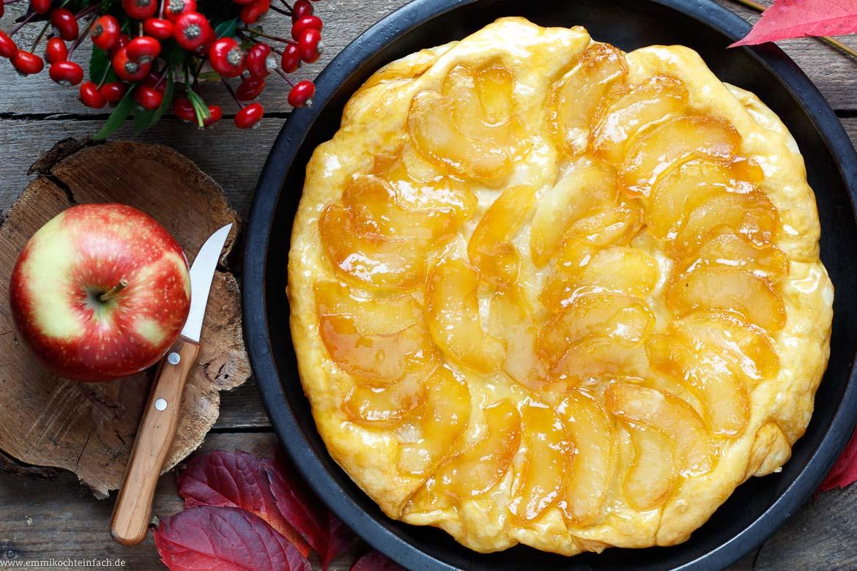 Apfel Tarte Tatin Das Kuchen Dessert Aus Der Pfanne