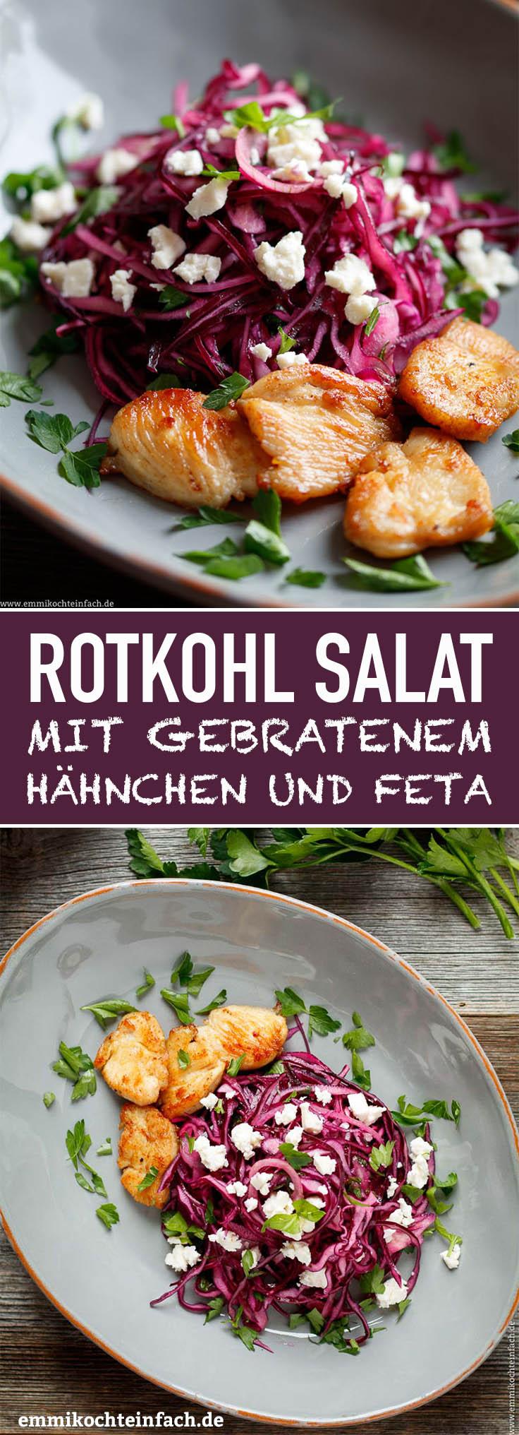 Rotkrautsalat mit gebratenem Hähnchen - www.emmikochteinfach.de