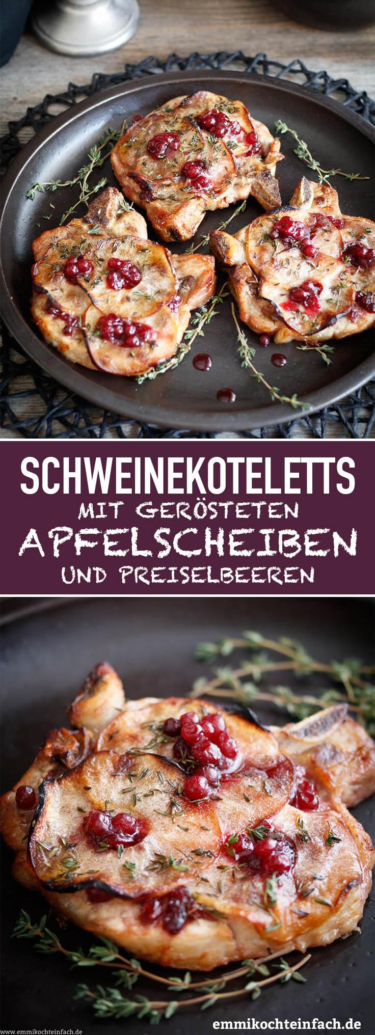 Schnelle Schweinekoteletts mit Apfelscheiben - www.emmikochteinfach.de
