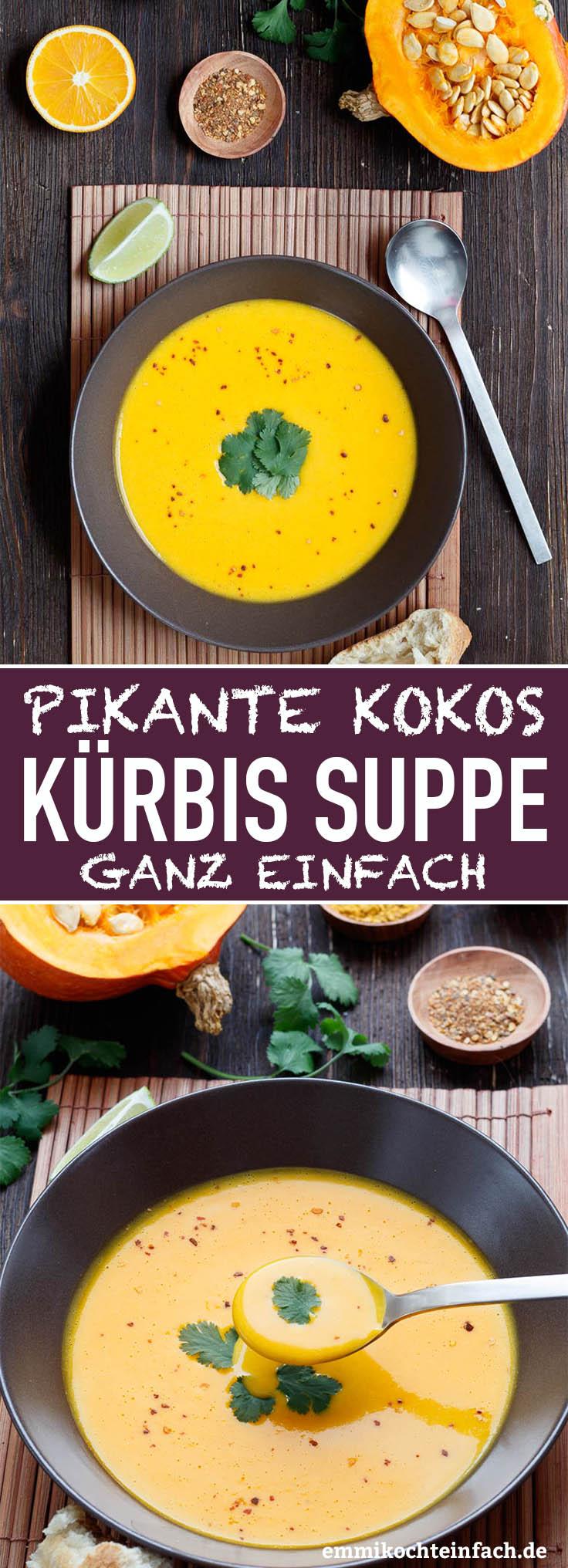 Pikante Kürbis Kokos Suppe - www.emmikochteinfach.de