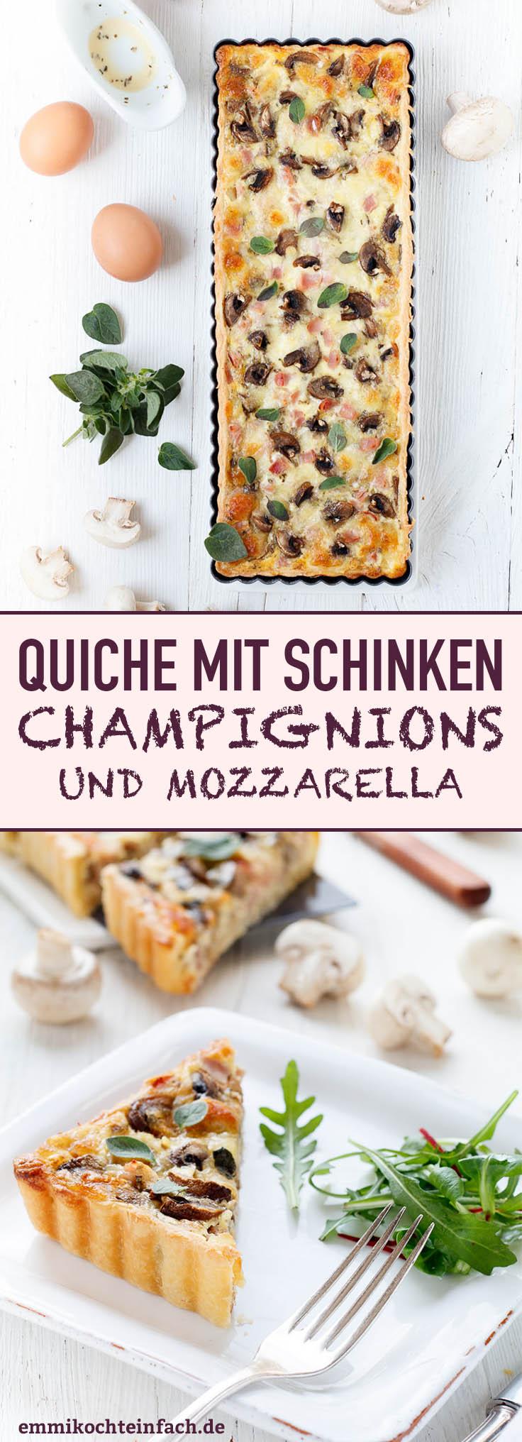 Quiche mit Schinken, Champignons und Mozzarella - www.emmikochteinfach.de