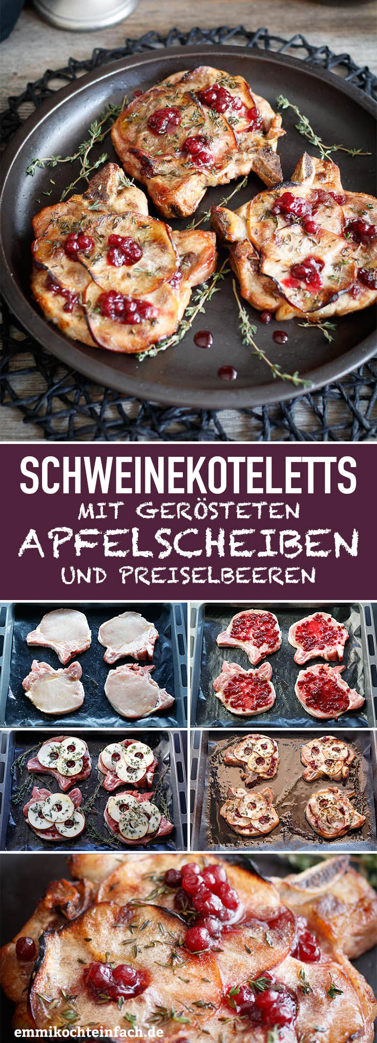 Schnelle Koteletts vom Schwein mit Apfelscheiben - www.emmikochteinfach.de