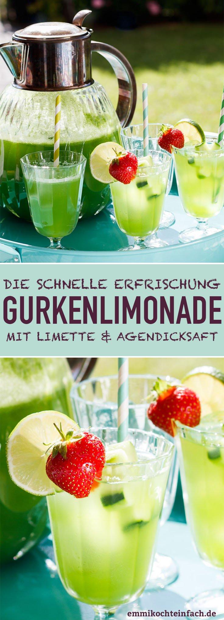 Gurkenlimonade mit Limette und Agavendicksaft - www.emmikochteinfach.de