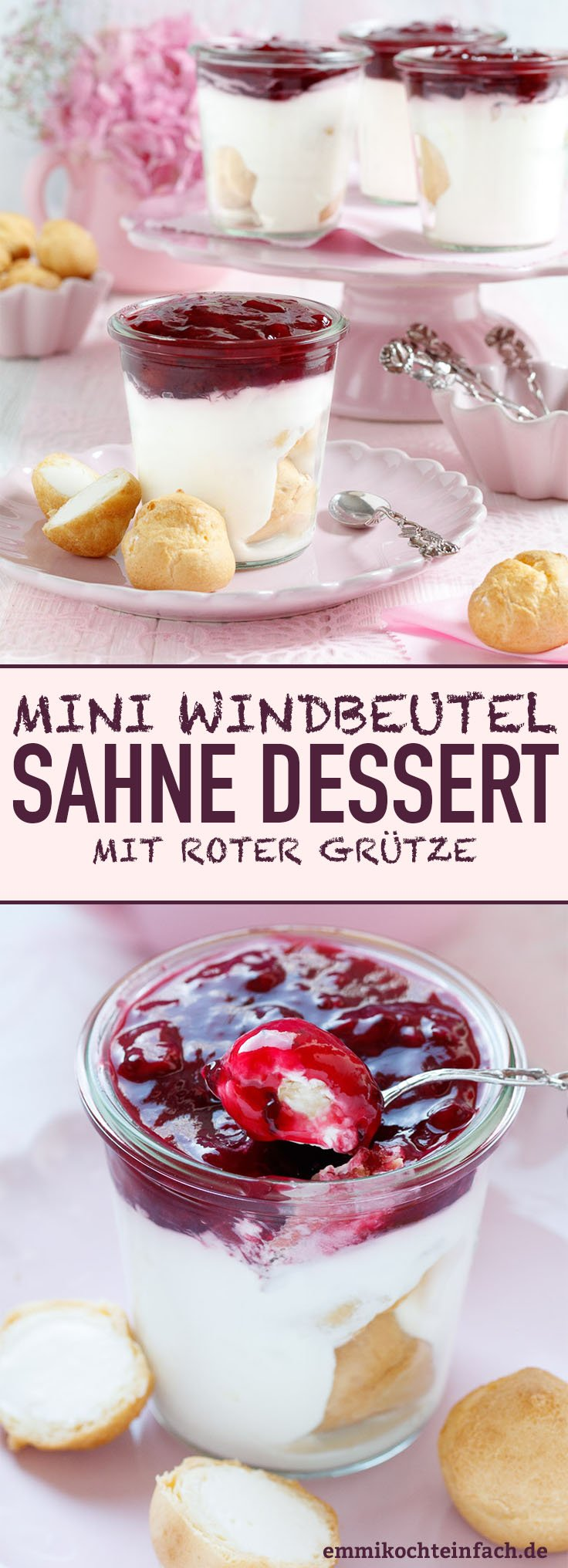 Sahnedessert mit roter Grütze - www.emmikochteinfach.de
