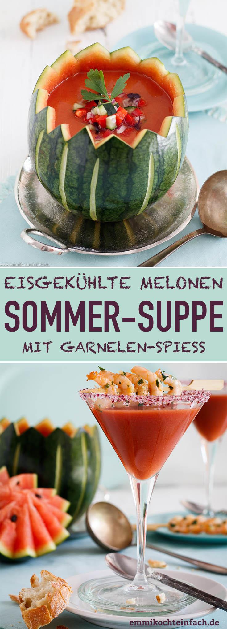 Eisgekühlte Sommersuppe mit Garnelenspiess - www.emmikochteinfach.de