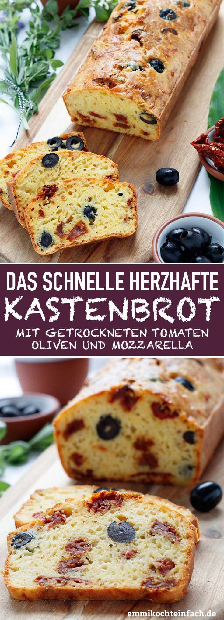 Herzhaftes Kastenbrot mit getrockneten Tomaten, Oliven und Mozzarella - www.emmikochteinfach.de