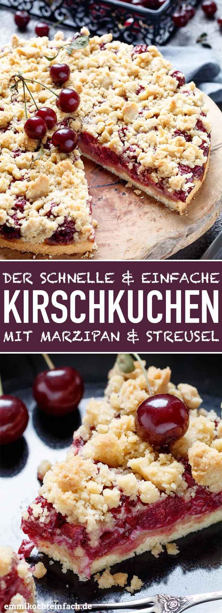 Kirschkuchen Mit Marzipan Und Streusel Emmikochteinfach