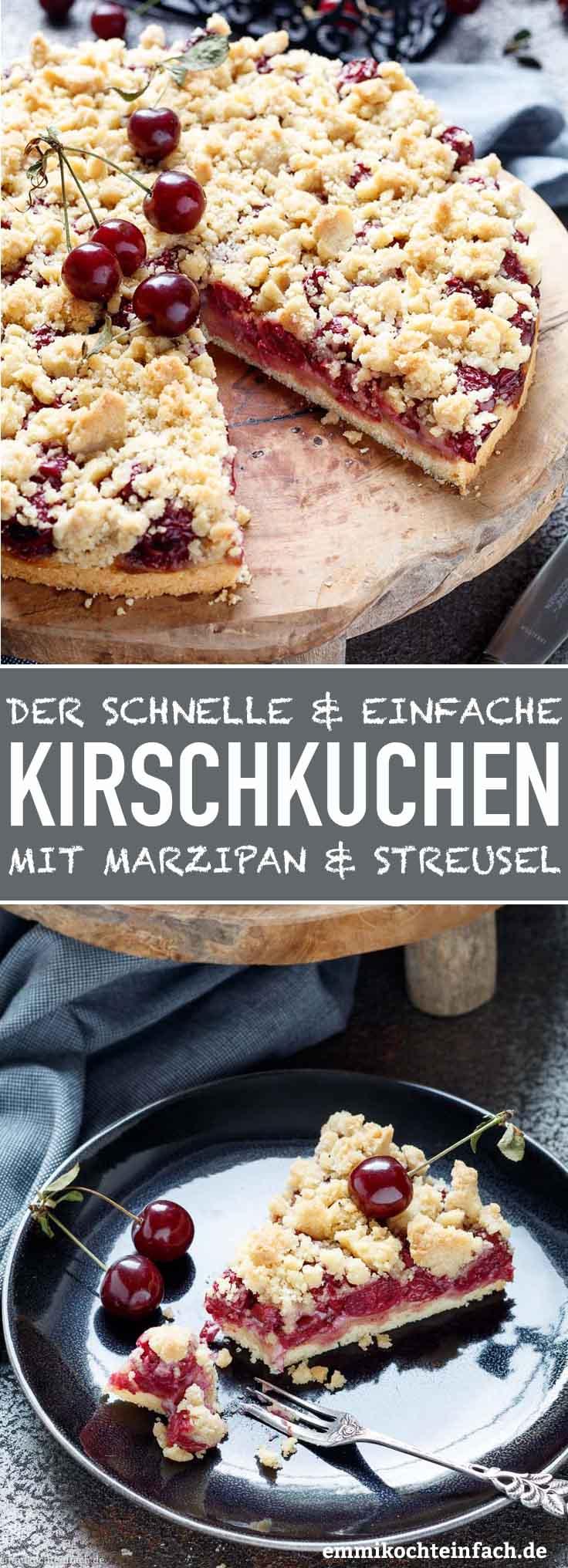 Kirschkuchen mit Marzipan und Streusel - www.emmikochteinfach.de