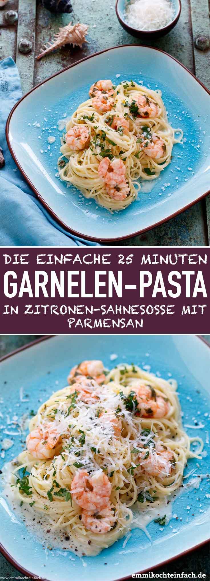 Capellini mit Garnelen in Zitronen-Sahnesosse - www.emmikochteinfach.de