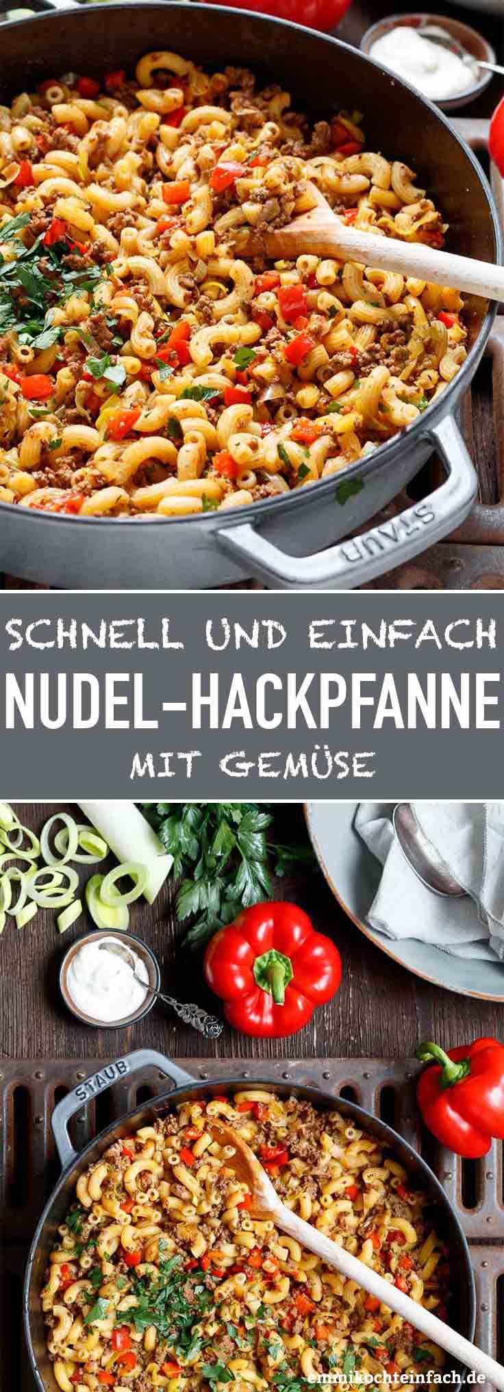 Schnelle Hackpfanne mit Hörnchennudeln und Gemüse - www.emmikochteinfach.de