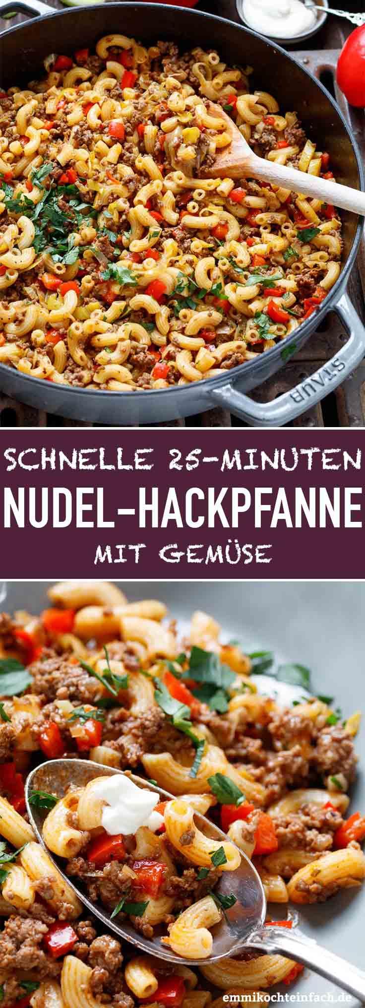 Schnelle Hackfleischpfanne mit Hörnchennudeln - www.emmikochteinfach.de