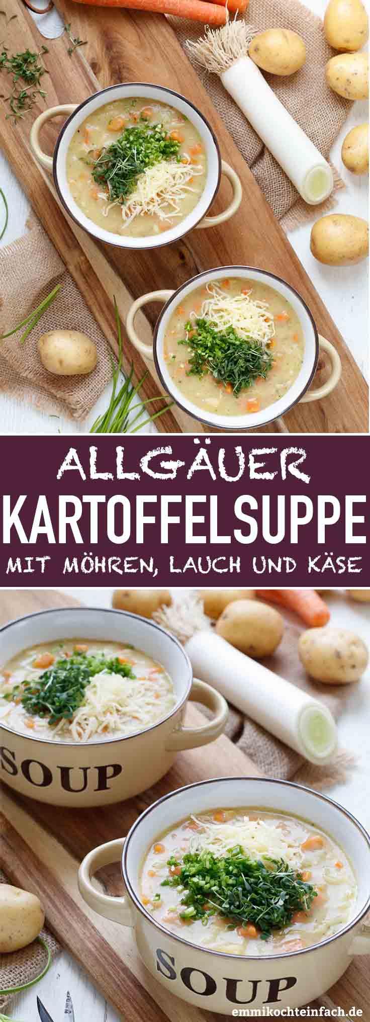 Allgäuer Kartoffelsuppe mit Möhren, Lauch und Emmentaler - www.emmikochteinfach.de