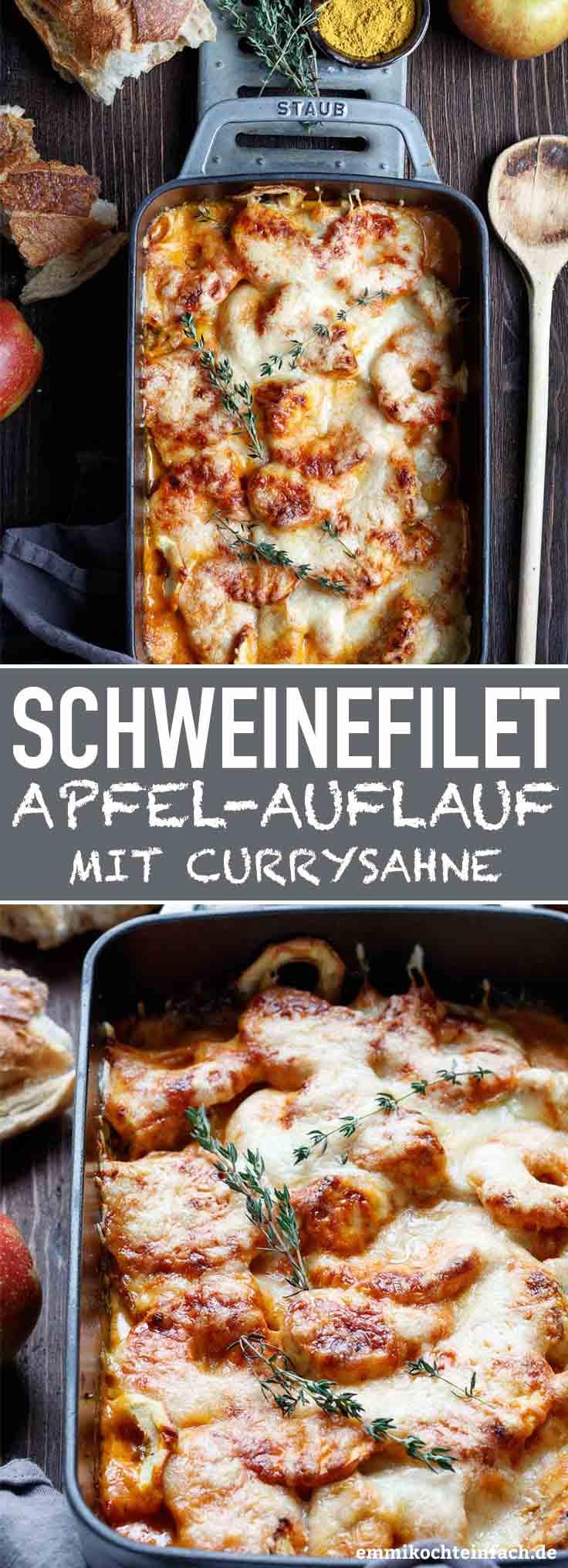 Gratinierter Schweinefilet-Apfel-Auflauf mit Currysahne - www.emmikochteinfach.de
