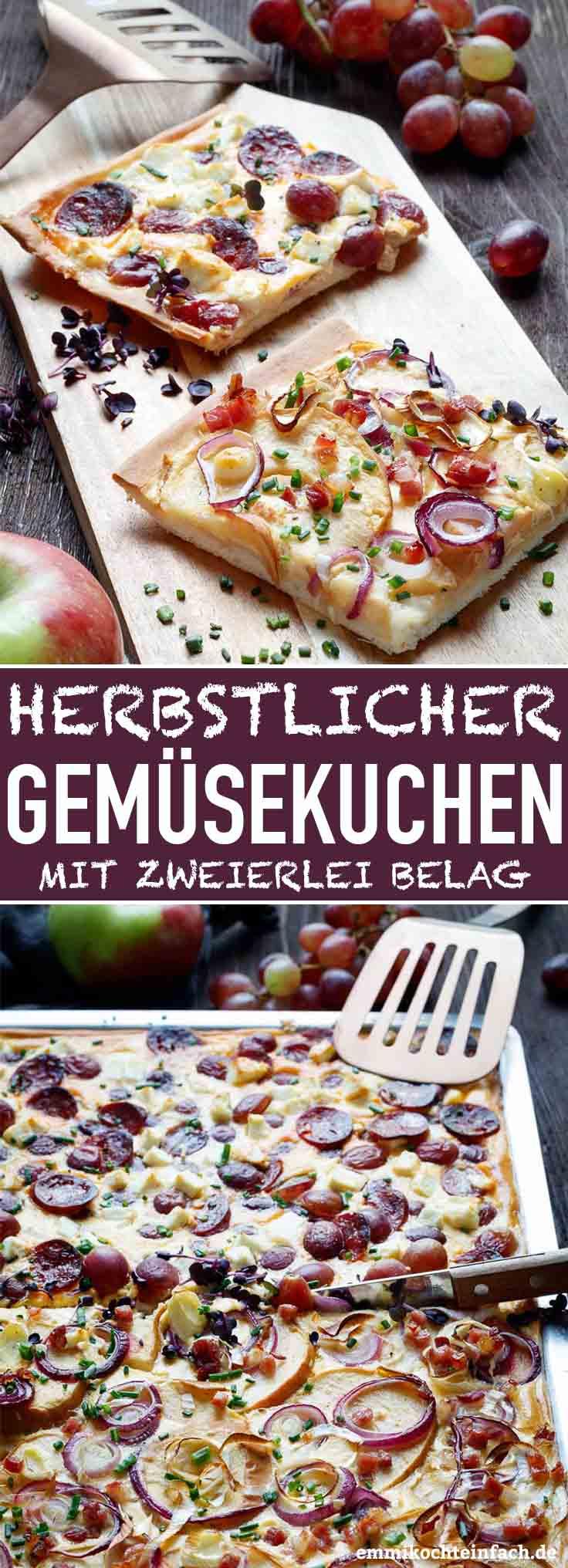 Der herzhafte Blechkuchen ist eine schöne Alternative zum Zwiebelkuchen - www.emmikochteinfach.de
