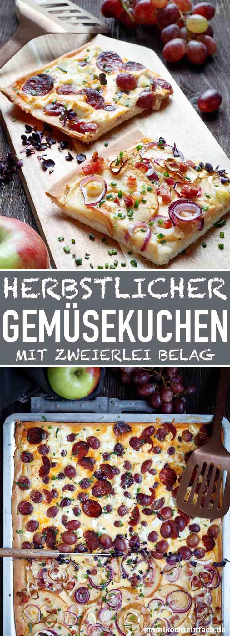 Herbstlicher Gemüsekuchen mit zweierlei Belag - www.emmikochteinfach.de