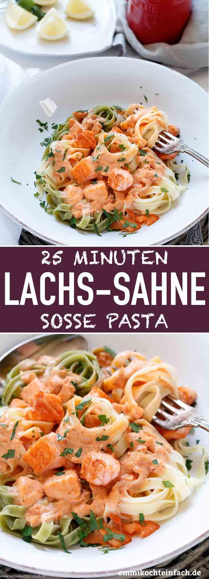 25 Minuten Pasta mit Lachs-Sahnesoße - www.emmikochteinfach.de