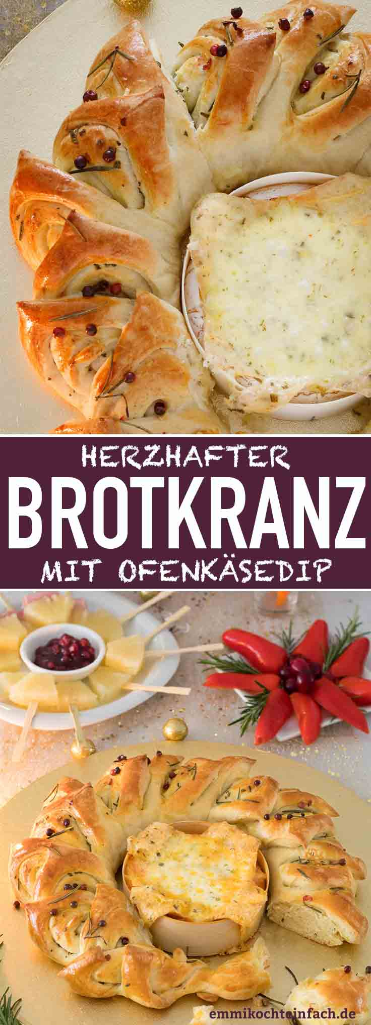 Brotkranz mit Ofenkäse - www.emmikochteinfach.de