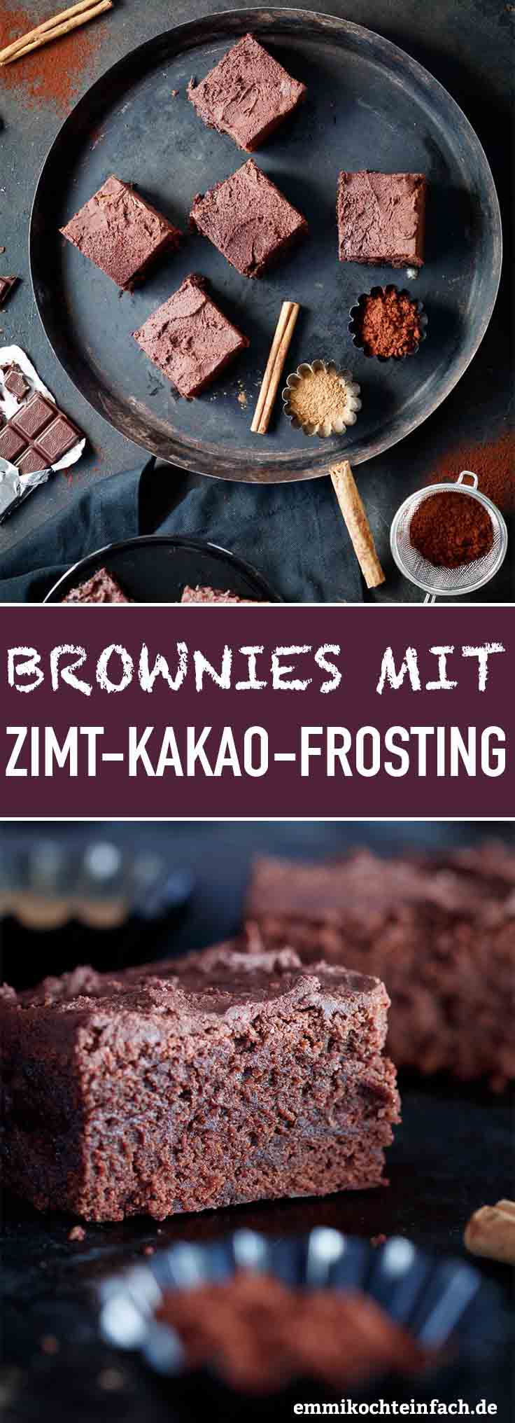 Brownies mit Zimt-Kakao-Frosting - www.emmikochteinfach.de
