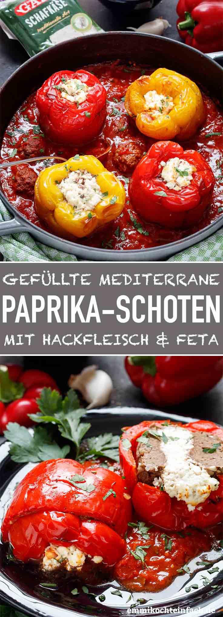 Gefüllte Paprikaschoten mediterran - www.emmikochteinfach.de