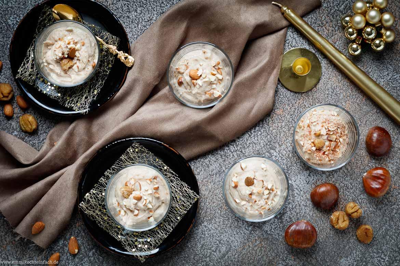 Weihnachtsessen Nachspeise.Festliches Maronen Dessert Emmikochteinfach