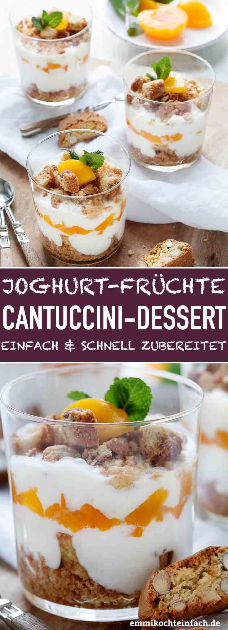 Joghurt-Cantuccini-Dessert mit Pfirsichen - www.emmikochteinfach.de