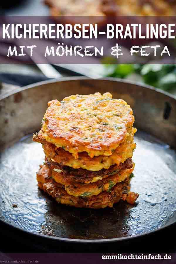 Kichererbsen Bratlinge mit Möhren und Feta - www.emmikochteinfach.de