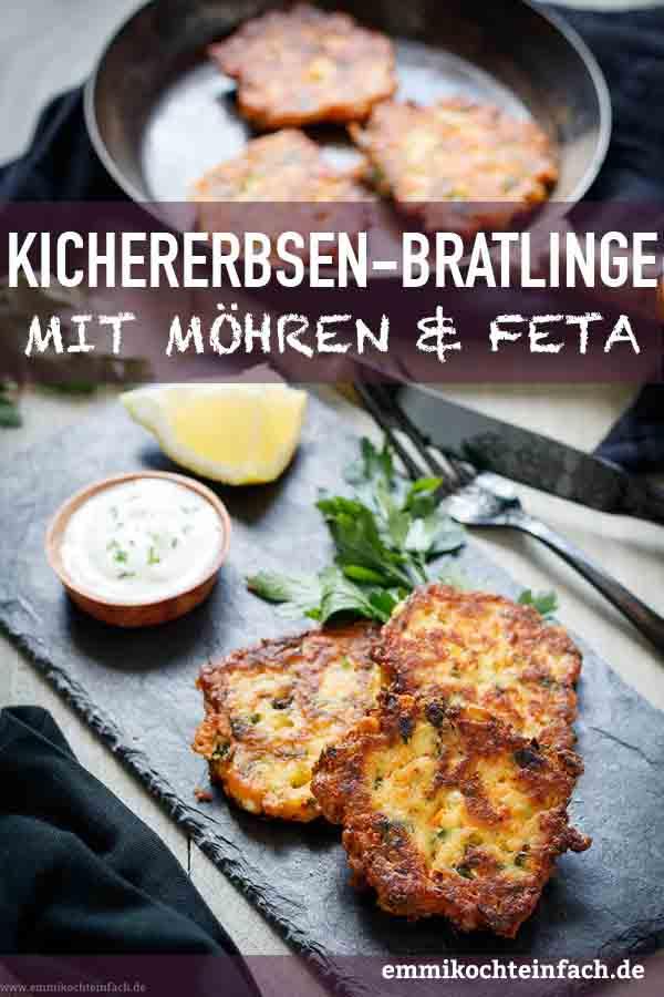 Kichererbsenbratlinge mit Möhren und Feta - www.emmikochteinfach.de