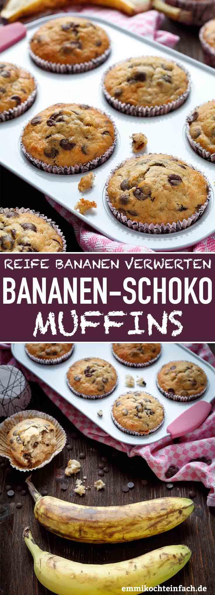Einfache Bananen-Schoko Muffins - www.emmikochteinfach.de