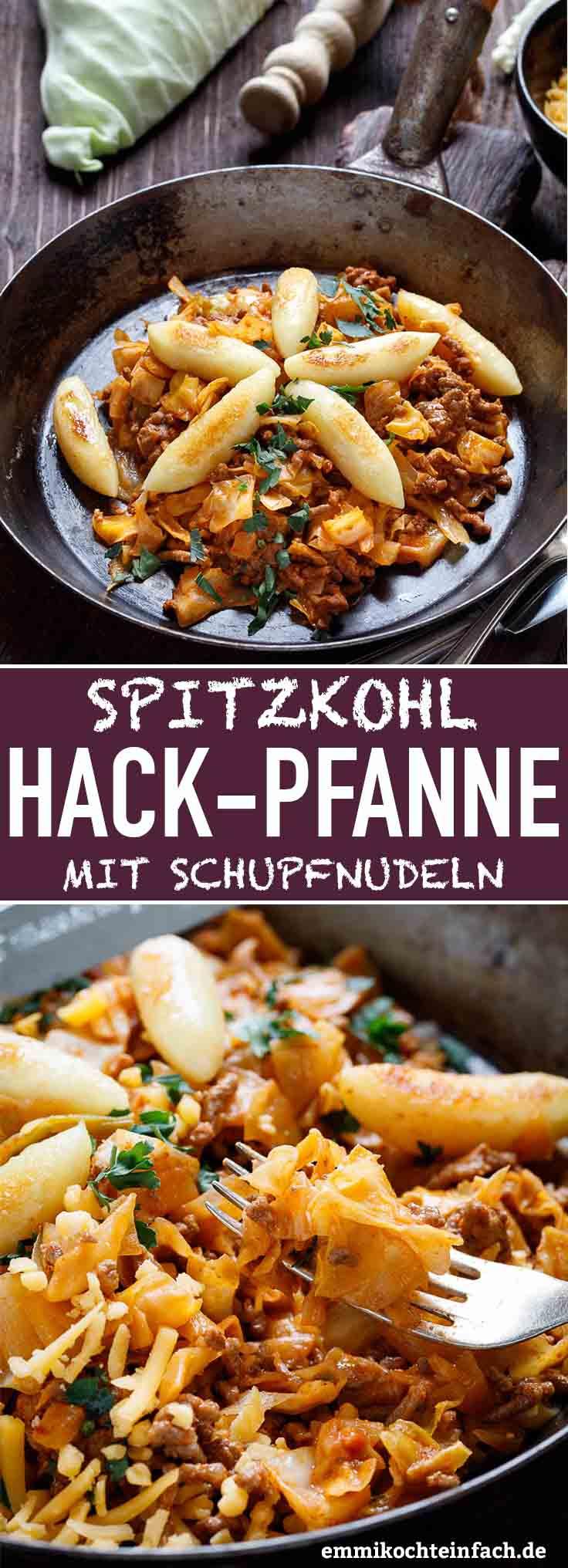 Spitzkohl-Hackpfanne mit Schupfnudeln - www.emmikochteinfach.de