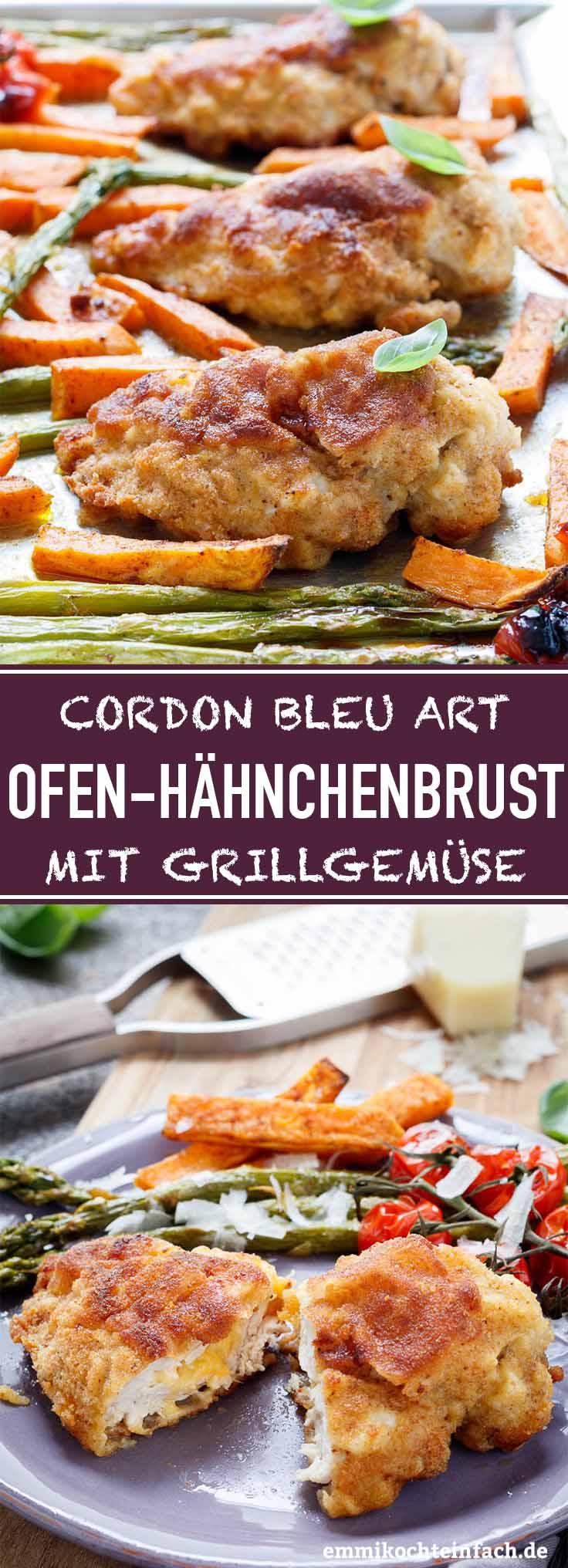 Hähnchenbrust-Cordon bleu Art mit Grillgemüse - www.emmikochteinfach.de