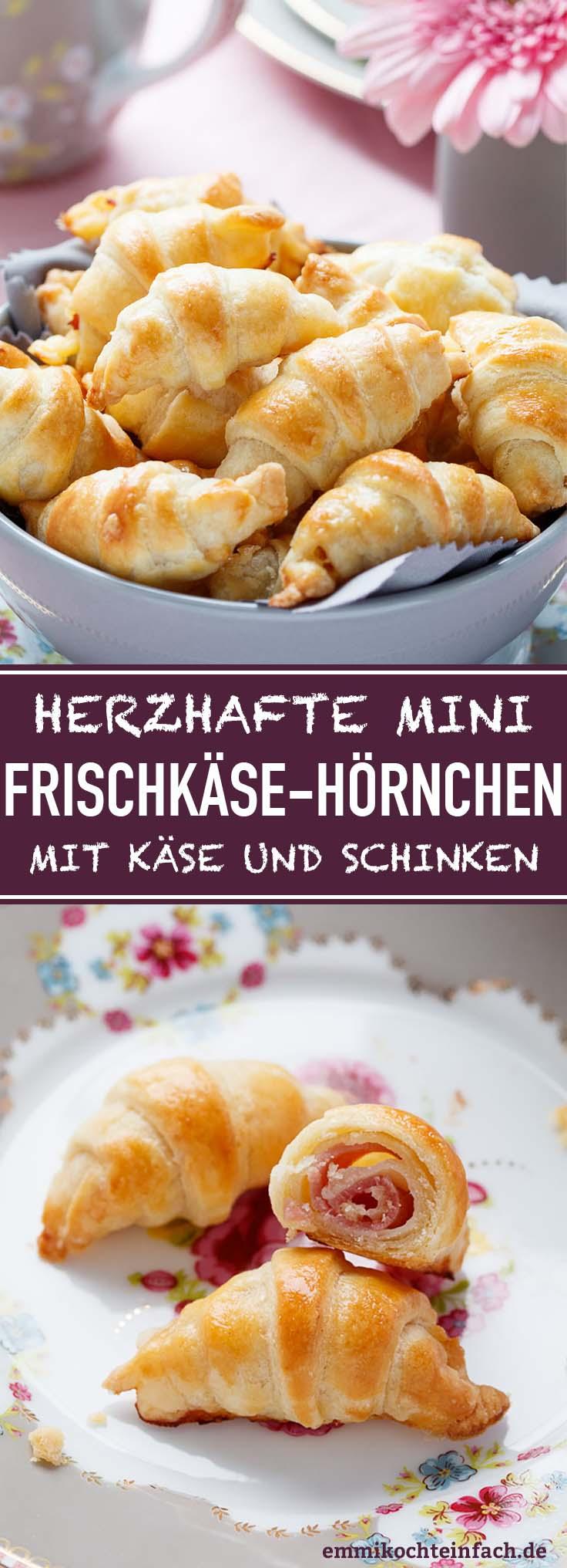 Mini Frischkäsehörnchen mit Käse und Schinken - www.emmikochteinfach.de