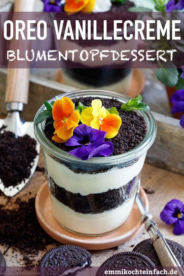 Oreo Vanillecreme Dessert mit Blumengruß - ein schnelles Schichtdessert - www.emmikochteinfach.de