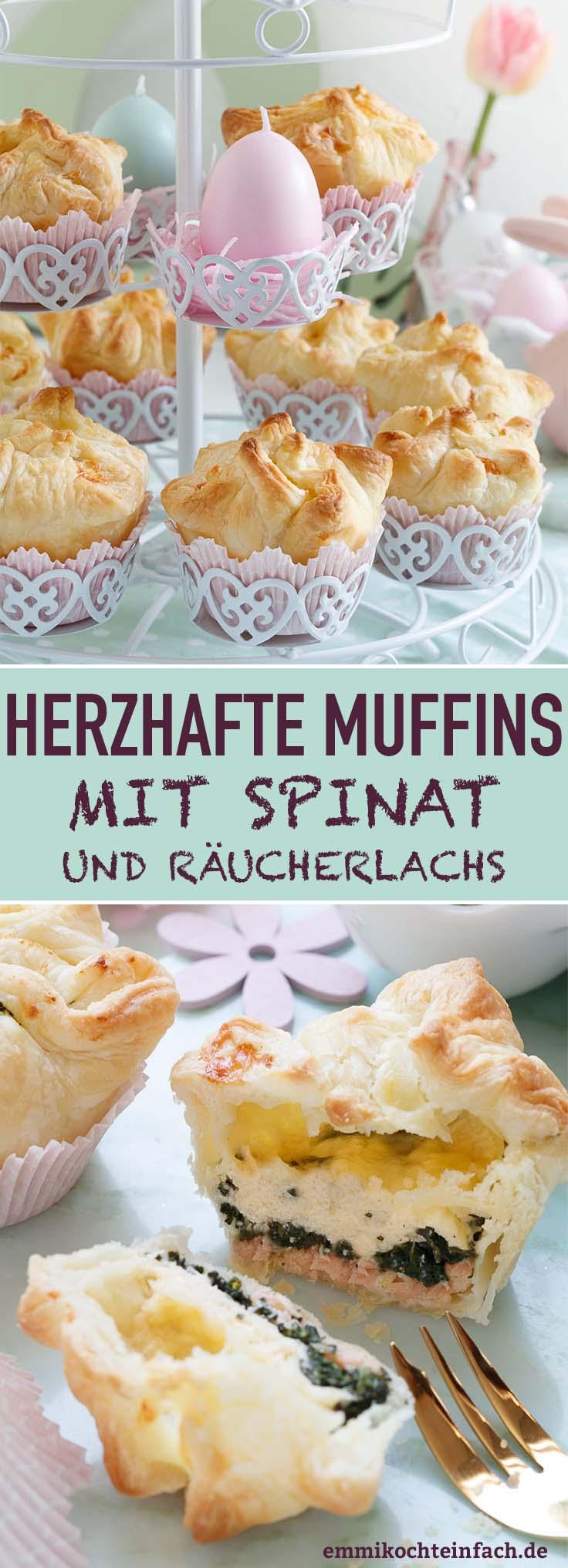 Herzhafte Muffins mit Spinat und Räucherlachs - www.emmikochteinfach.de