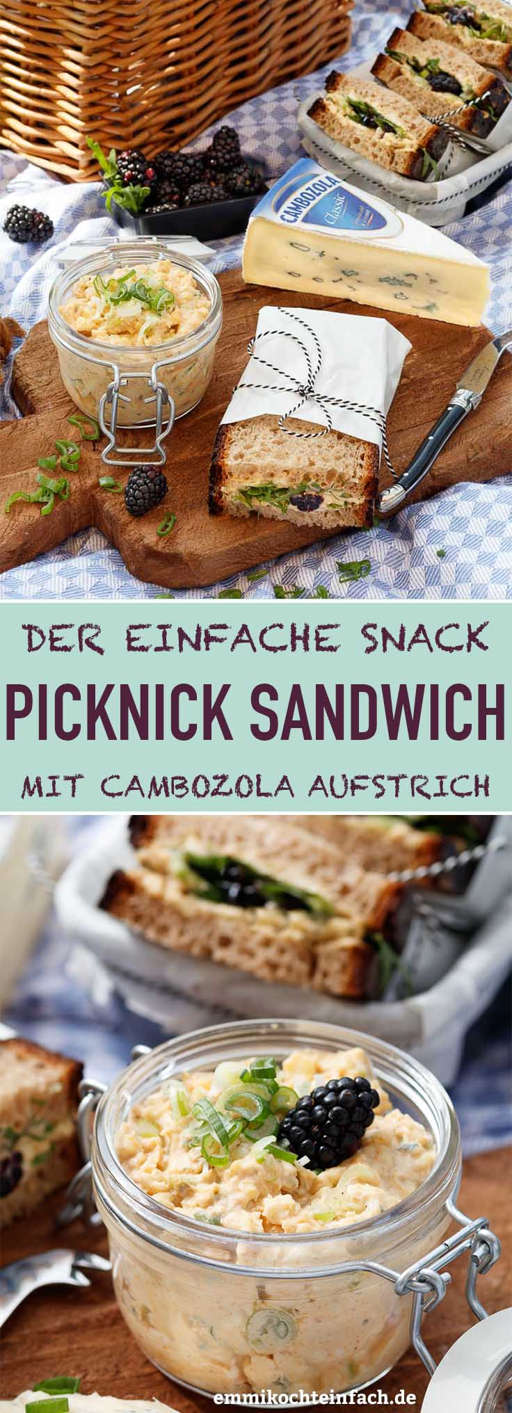 Picknick Sandwich mit cremigem Cambozola Aufstrich - www.emmikochteinfach.de