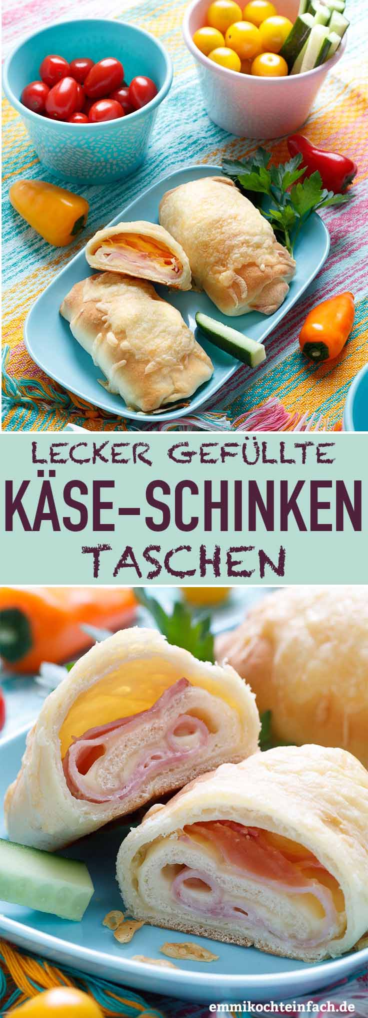 Gefüllte Käse-Schinken Taschen - www.emmikochteinfach.de