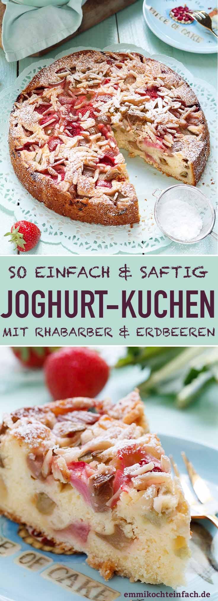 Saftiger Joghurtkuchen mit Rhabarber und Erdbeeren - www.emmikochteinfach.de