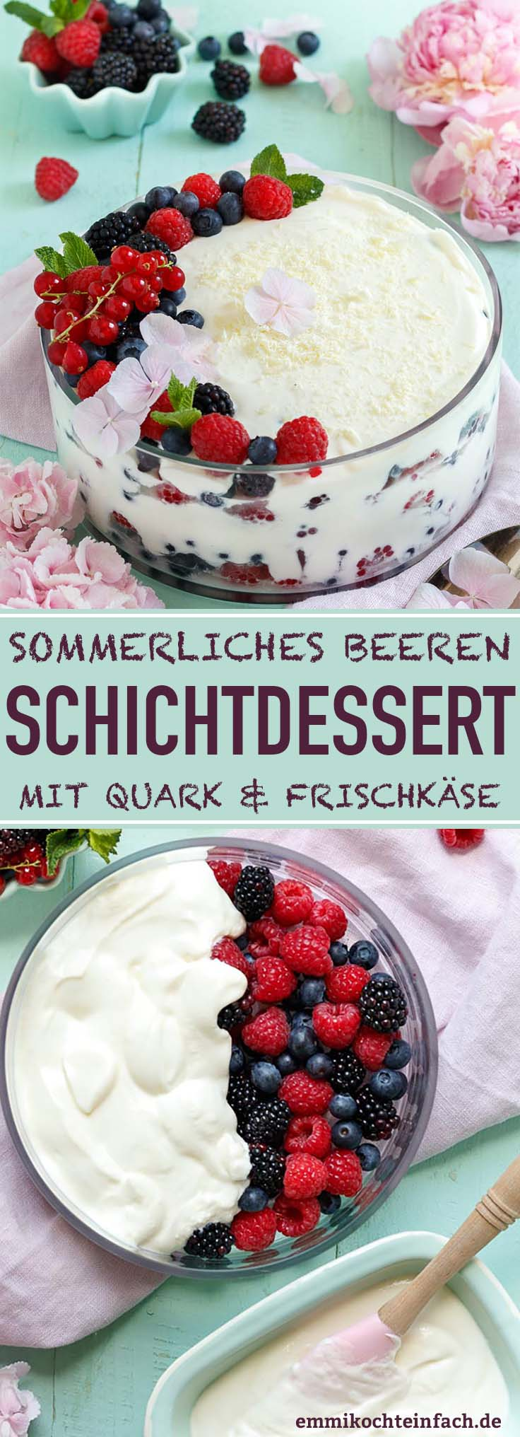 Ein sommerlicher, fruchtiger Nachtisch mit Quark und Frischkäse - www.emmikochteinfach.de