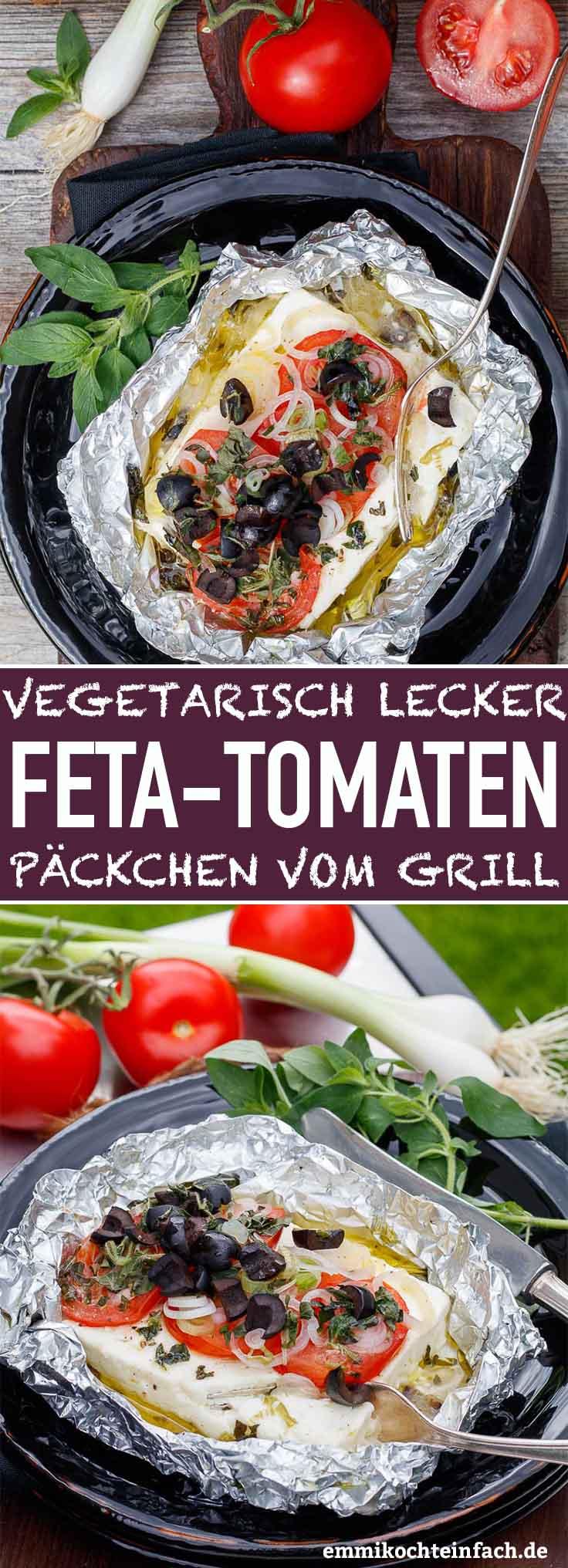 Vegetarisch lecker - Feta-Tomaten-Päckchen vom Grill - www.emmikochteinfach.de