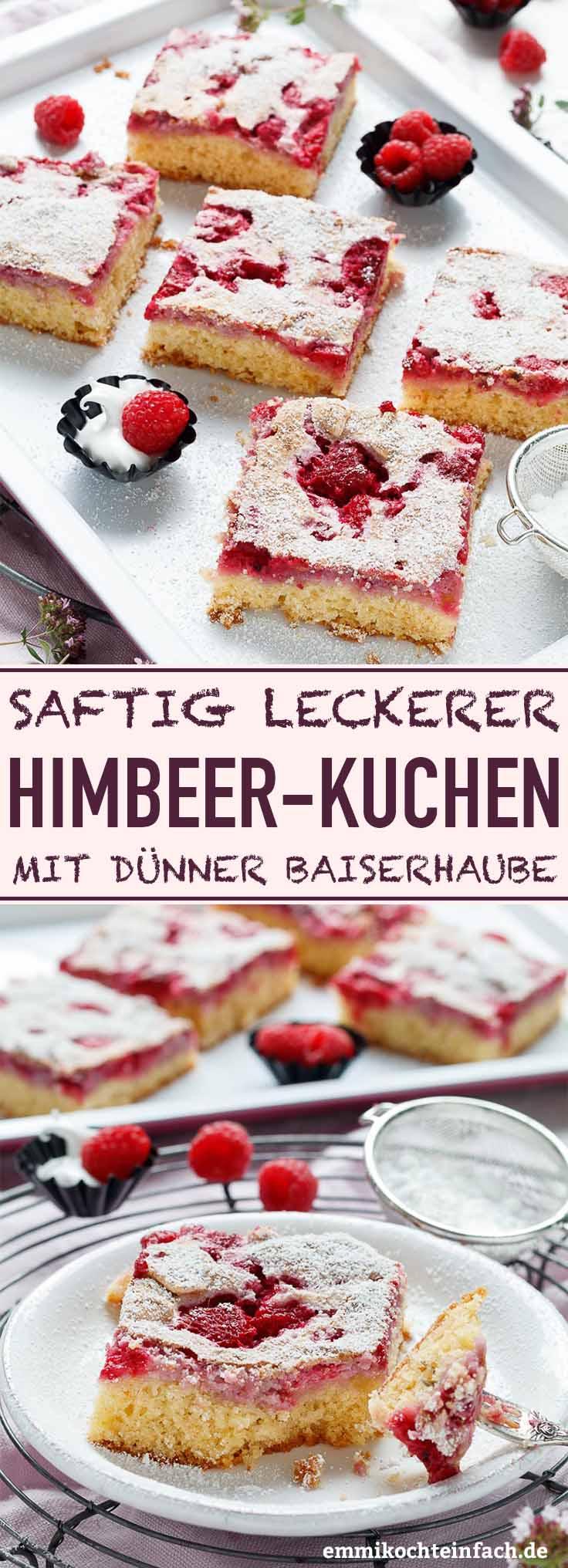 Saftiger Himbeerkuchen mit hauchdünner Baiserhaube - www.emmikochteinfach.de