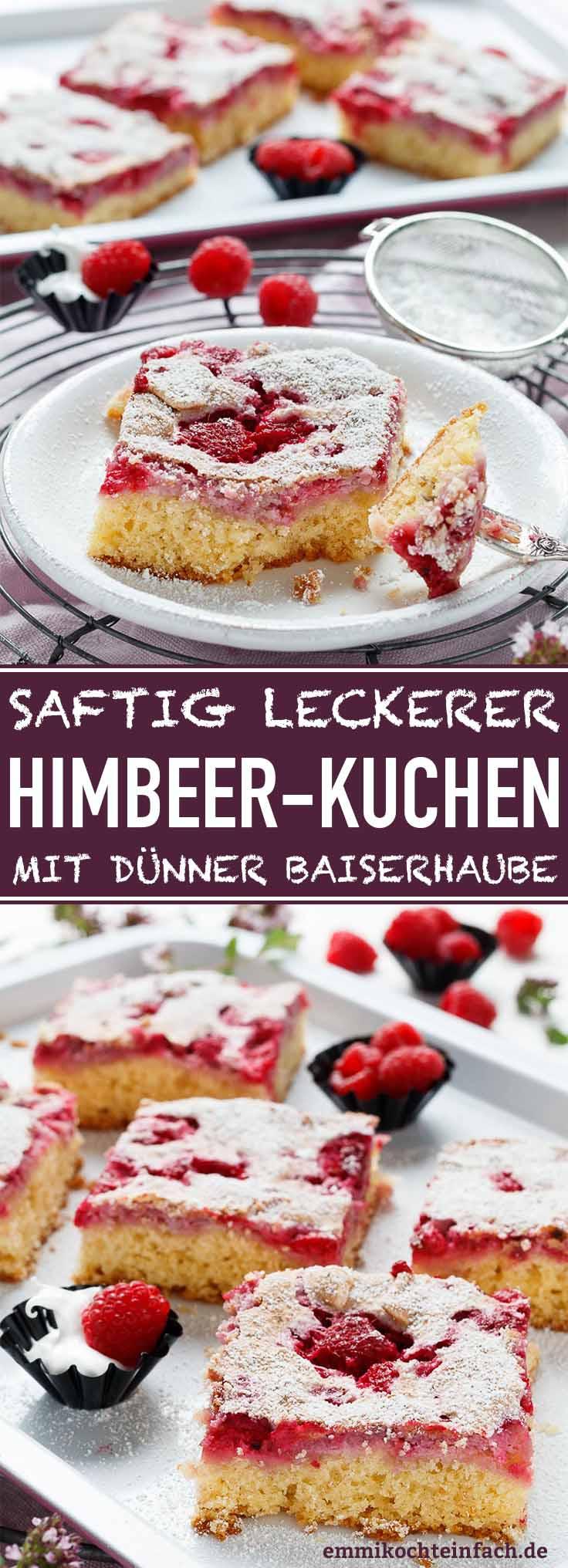 Ein leckerer Blechkuchen mit Himbeeren - www.emmikochteinfach.de