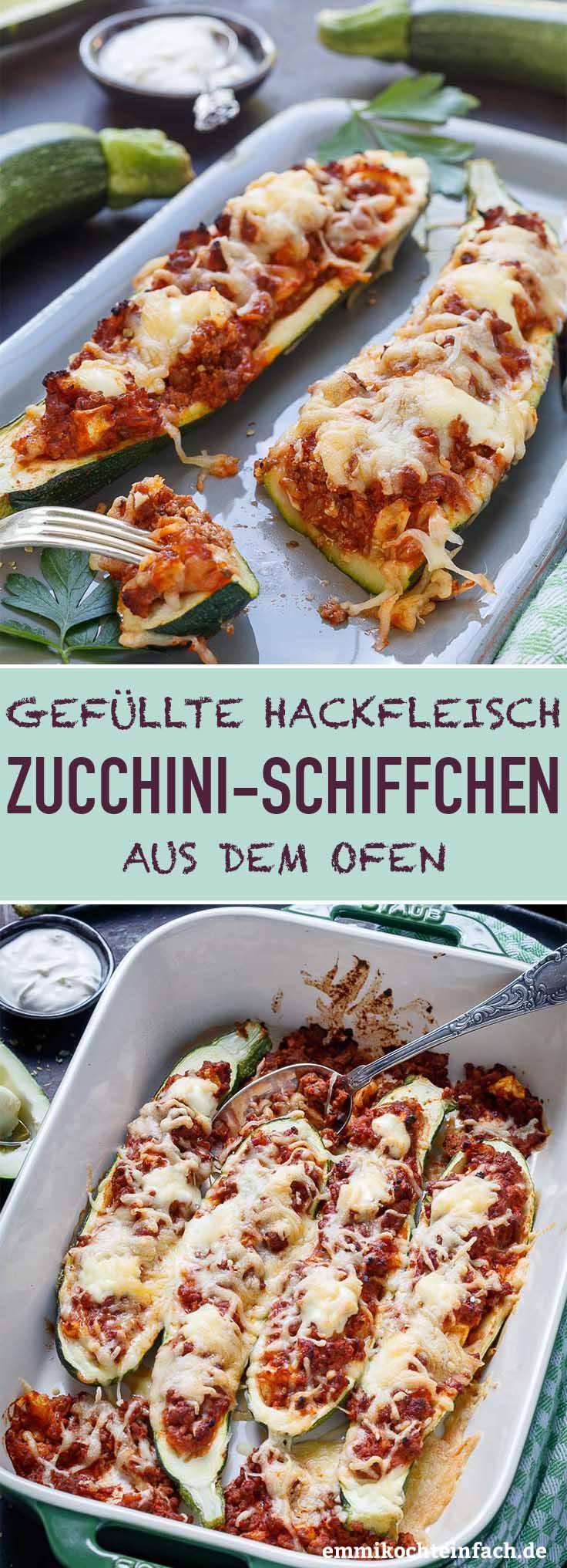 Gefüllte Zucchini Schiffchen mit Hackfleisch - www.emmikochteinfach.de
