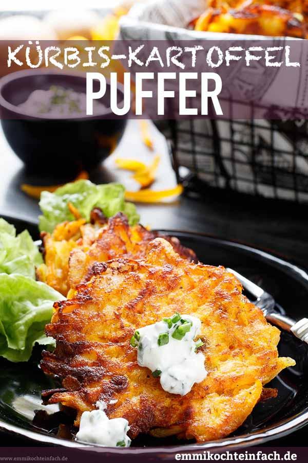 Kürbis Kartoffel Puffer mit Schnittlauch-Dip - www.emmikochteinfach.de