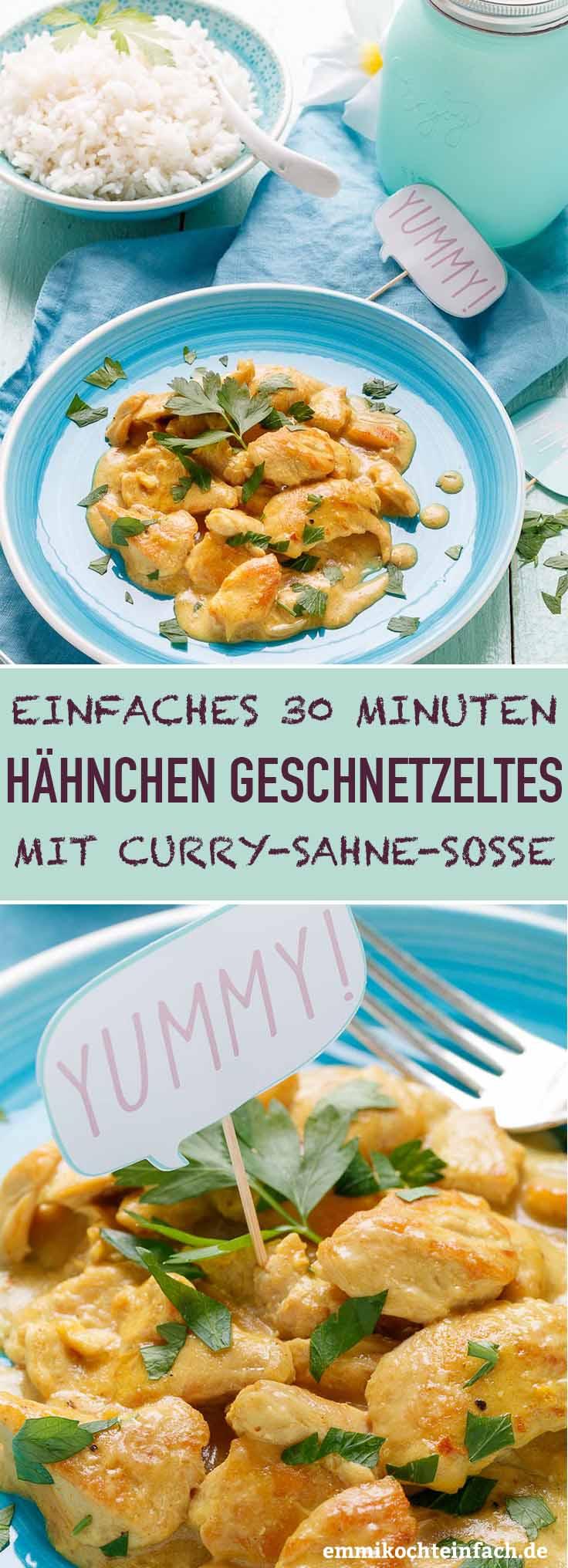 Currygeschnetzeltes vom Huhn mit Sahnesoße - www.emmikochteinfach.de