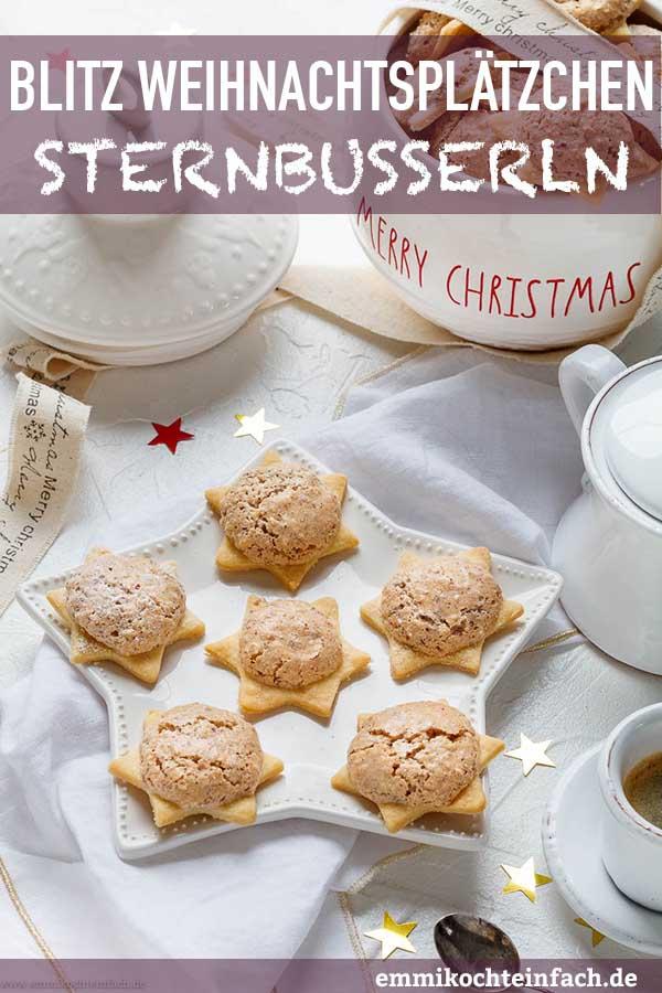 Sternbusserln - einfache und schnelle Weihnachtsplätzchen - www.emmikochteinfach.de