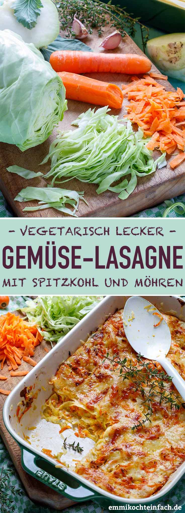 Gemüselasagne mit Spitzkohl und Möhren - www.emmikochteinfach.de