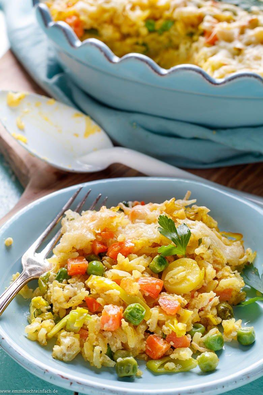 Reis Gemüse Auflauf mit Käse überbacken - www.emmikochteinfach.de