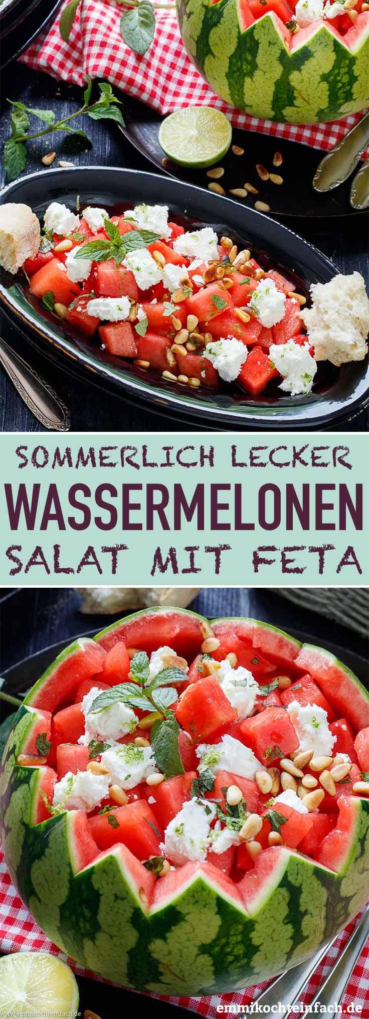 Wassermelonensalat mit Feta ganz einfach - www.emmikochteinfach.de