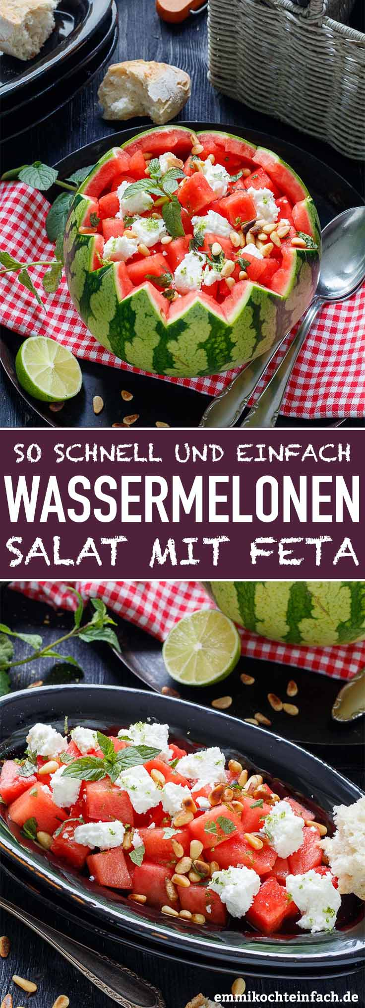 Einfacher Wassermelonen Salat mit Feta - www.emmikochteinfach.de