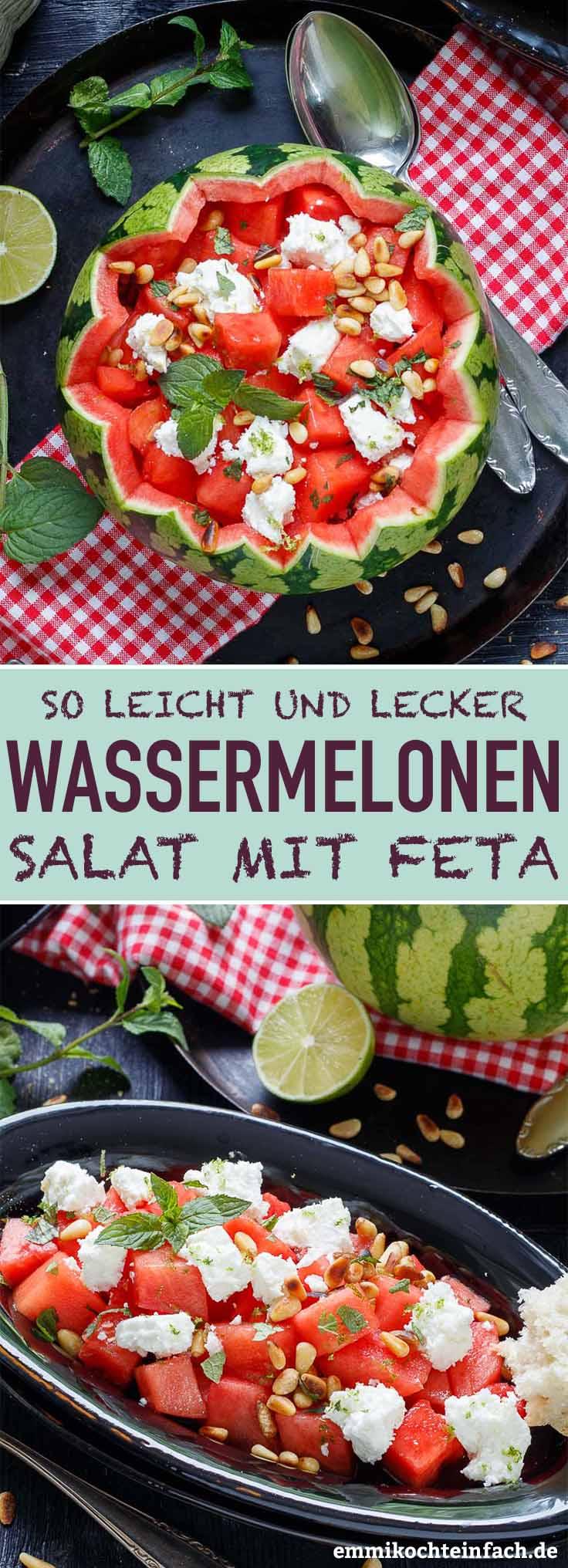 Wassermelonen Salat mit Feta ganz einfach - www.emmikochteinfach.de