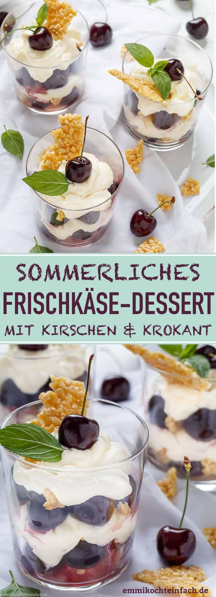 Frischkäse Dessert mit Kirschen und Krokant - www.emmikochteinfach.de